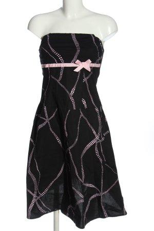 Promod schulterfreies Kleid schwarz-pink Allover-Druck Elegant