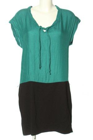 Promod T-shirt jurk turkoois-zwart casual uitstraling