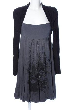 Promod Shirtkleid hellgrau-schwarz Motivdruck Casual-Look