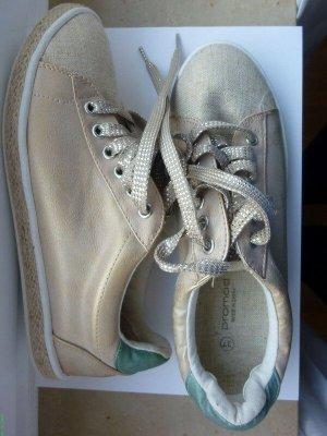 Promod Sneaker 37 beige natur grün metallic Turnschuhe Canvasschuhe Romantik Leinenschuhe Sisal