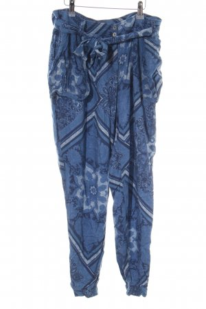 Promod Stoffhose blau-weiß Blumenmuster Casual-Look