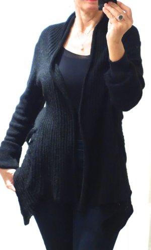 Promod Strickjacke, Cardigan, Schalkragen, schwarz, locker gestrickt, zipfelig, A-Linie, Bändchen zum Schließen oder hinten zum Binden, schwarz, Wollmischung mit Polymid, haarige Oberfläche, Ripp, Lochmuster, neuwertig, Gr. M/L