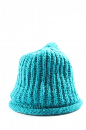 Promod Knitted Hat blue cable stitch casual look