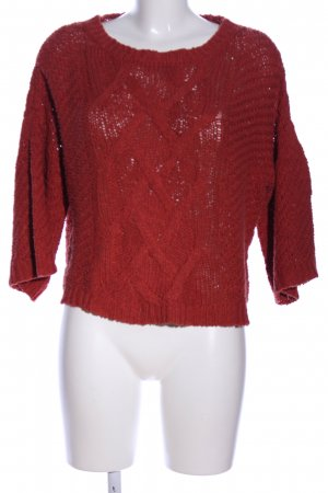 Promod Strickpullover rot Zopfmuster Casual-Look