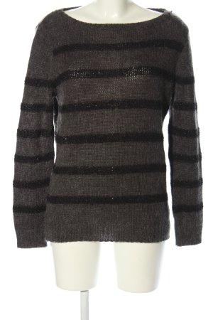 Promod Pull tricoté gris clair-noir motif rayé style décontracté