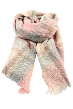 Promod Strickschal pink-wollweiß Karomuster Casual-Look