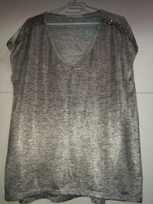 promod T-Shirt silber grau gold Schimmer Glitzer Perlen XL 42