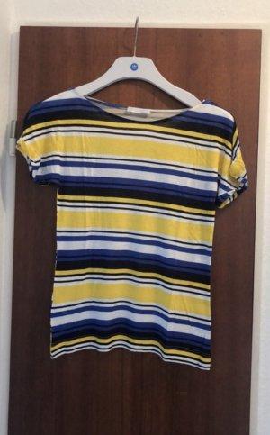 Promod T-Shirt Streifen schwarz weiß blau gelb