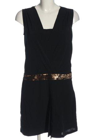 Promod Chiffonkleid schwarz-goldfarben Casual-Look