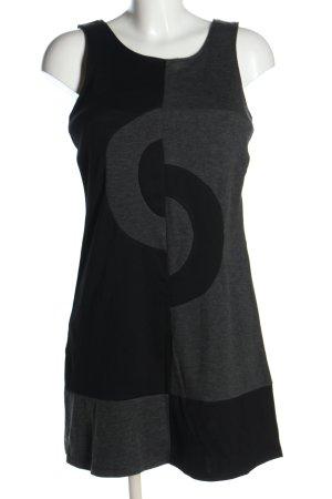Promod Stretchkleid hellgrau-schwarz abstraktes Muster Casual-Look