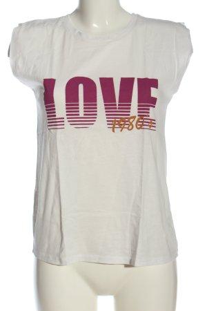 Promod U-Boot-Shirt weiß-pink Schriftzug gedruckt Casual-Look