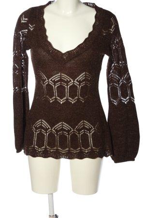Promod V-Ausschnitt-Pullover braun Casual-Look