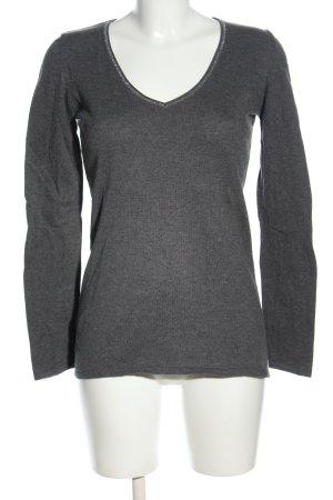 Promod V-Ausschnitt-Pullover hellgrau meliert Casual-Look
