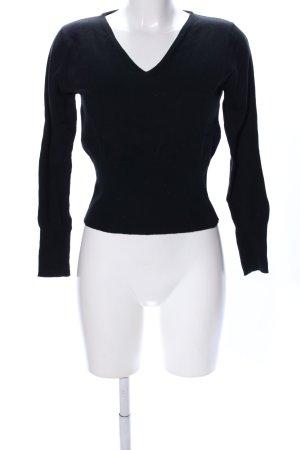 Promod V-Ausschnitt-Pullover schwarz Casual-Look