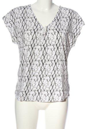 Promod V-Ausschnitt-Shirt weiß-schwarz Allover-Druck Casual-Look
