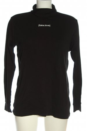 PROMODORO Turtleneck Shirt black printed lettering casual look