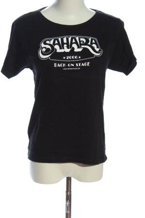 PROMODORO T-Shirt schwarz-weiß Schriftzug gedruckt Casual-Look