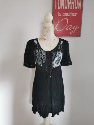 Pronto Moda Italy Damen Sommerkleid Kurzarm Kleid bestickt schwarz Größe M NEU