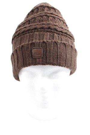 Protest Chapeau en tricot brun style décontracté