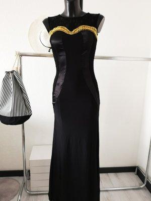 ⋙•-•-•-•➤  Pu-Leder  Ballkleid anges Kleid bodenlanges Meerjungfrauen Kleid schwarz gold Schmuck Pailletten Borte S/M