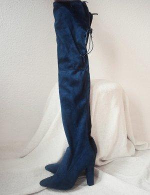 Public Desire Botas sobre la rodilla azul oscuro tejido mezclado