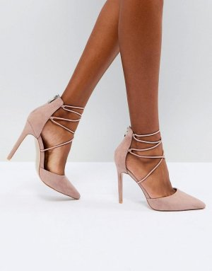 Public Desire Volt Tie Up High Heels Pumps Strap Tie Leg blush elegant vintage klassik retro