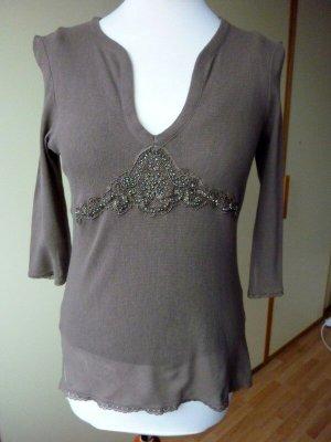 public Shirt + Top 36 S schlamm braun Oberteil Spitze Perlen Mesh Twinset transparent