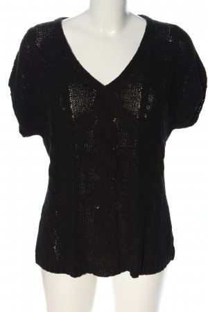 Public Strickshirt schwarz Zopfmuster Casual-Look