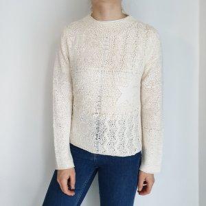 Public weiß Cardigan Strickjacke Oversize Pullover Hoodie Pulli Sweater Top True Vintage
