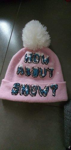 Cappello con pon pon bianco-rosa