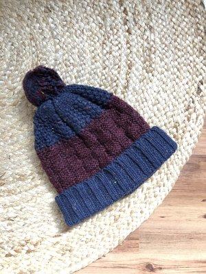 Wełniana czapka ciemnoniebieski-purpurowy