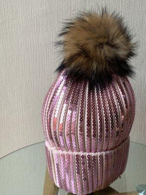Pudelmütze mit Pailletten in rosa neu und ungetragen