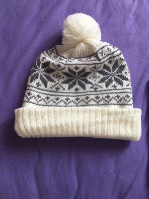 Cappello con pon pon bianco sporco-grigio