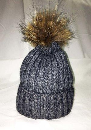 Bonnet à pompon gris-gris foncé tissu mixte