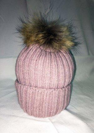 Bonnet à pompon vieux rose-rosé tissu mixte