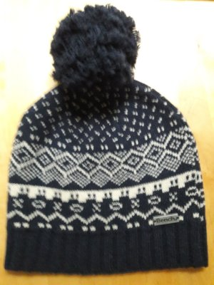 Bench Bobble Hat blue-white mixture fibre
