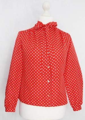 Tie-neck Blouse white-red polyester