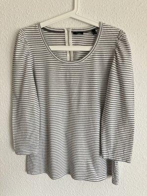 *Puff Sleeve* Grau gestreiftes Langarm-Shirt, Gr. L