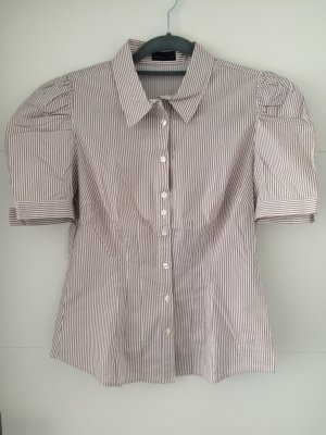 Vero Moda Blusa de manga corta blanco-marrón claro Algodón