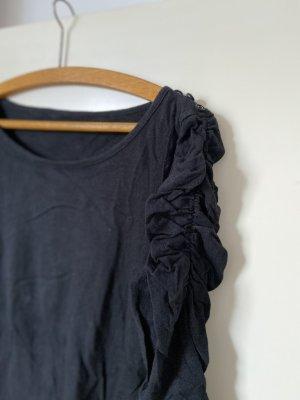 Prążkowana koszulka czarny