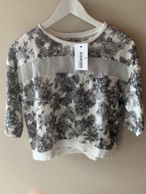 Pull and Bear Dreiviertel arm Pullover blumenmuster weiß grau