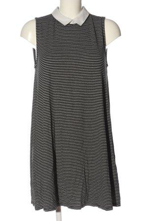 Pull & Bear A-Linien Kleid schwarz-weiß Streifenmuster Casual-Look
