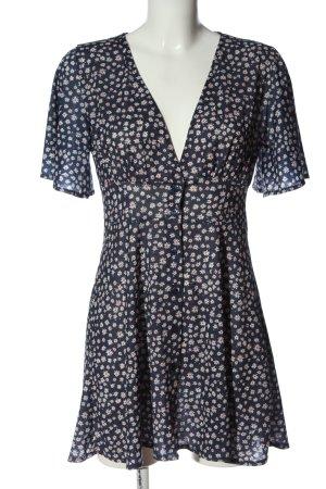 Pull & Bear A-Linien Kleid blau-weiß Allover-Druck Casual-Look