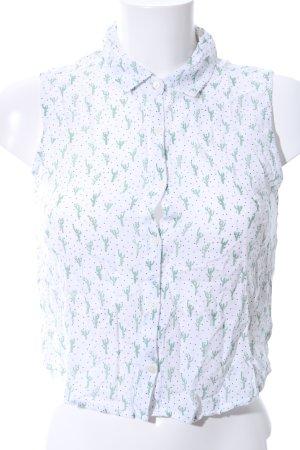 Pull & Bear ärmellose Bluse weiß-grün Allover-Druck Casual-Look