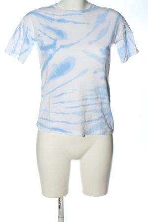 Pull & Bear Batik shirt wit-blauw abstract patroon casual uitstraling