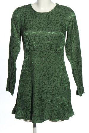 Pull & Bear Blusenkleid grün-schwarz Allover-Druck Casual-Look