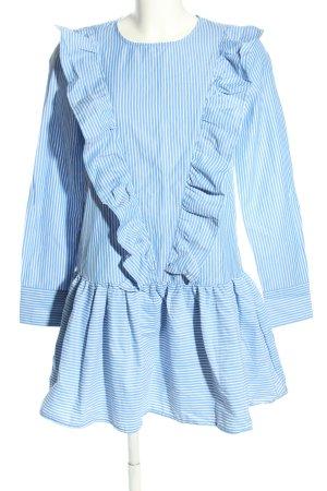Pull & Bear Blusenkleid blau-weiß Streifenmuster Casual-Look