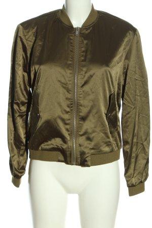 Pull & Bear Bomberjacke khaki-goldfarben Glanz-Optik