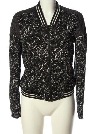 Pull & Bear Bomberjacke schwarz-weiß abstraktes Muster Casual-Look
