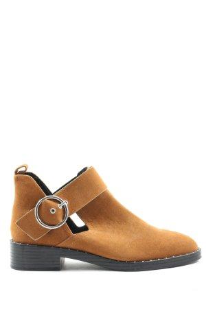 Pull & Bear Botki brązowy W stylu casual